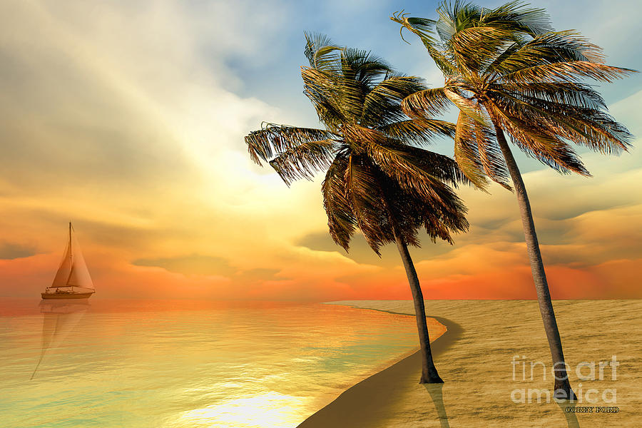 Sailboat Painting - Palm Island by Corey Ford