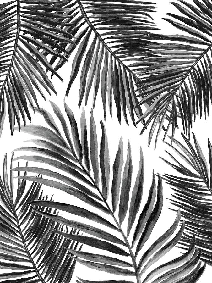 palm leaves black 3 painting by green palace