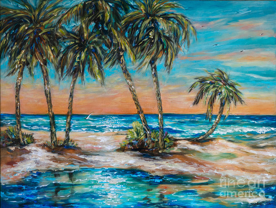 Palms Painting - Palm Reflection Lagoon by Linda Olsen