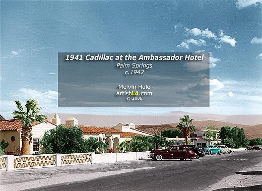 Vintage Painting - Palm Springs Art Entitled 1941 Cadillac At The Ambassador Hotel by Melvin Hale