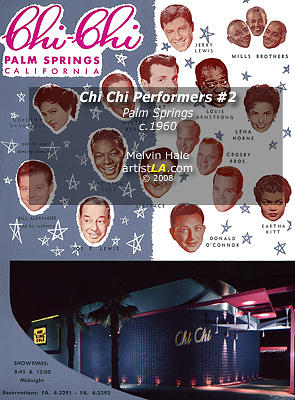 Vintage Painting - Palm Springs Art Entitled Chi Chi Blue Starlite Room Performers C1960 by Melvin Hale