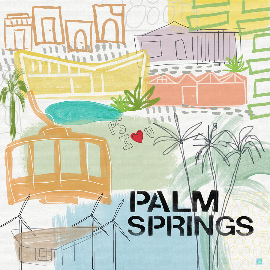 Ca Painting - Palm Springs Cityscape- Art by Linda Woods by Linda Woods