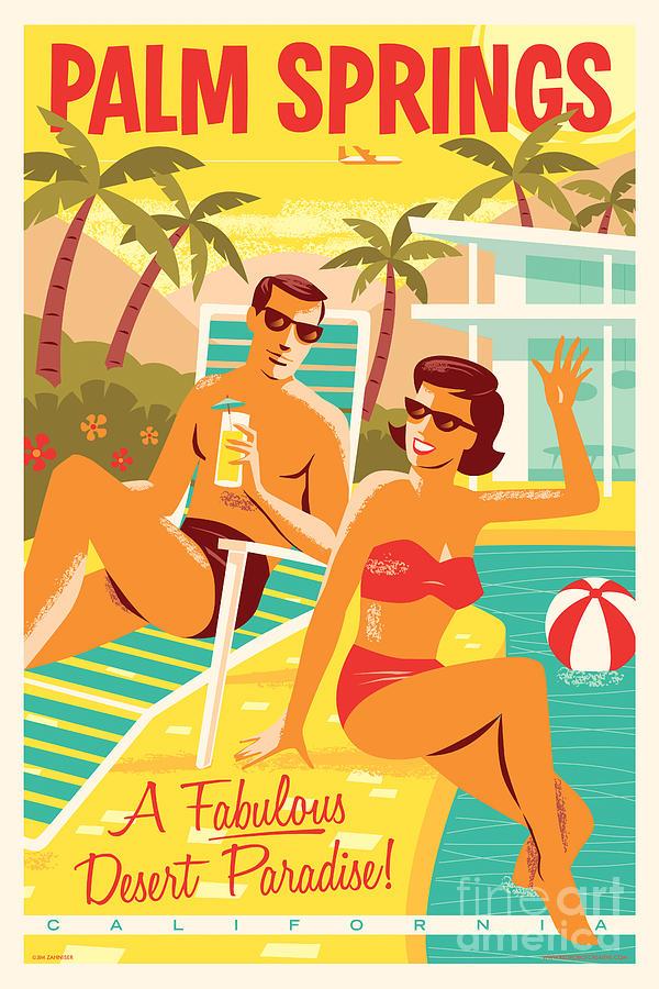 Mid Century Modern Digital Art - Palm Springs Poster - Retro Travel by Jim Zahniser