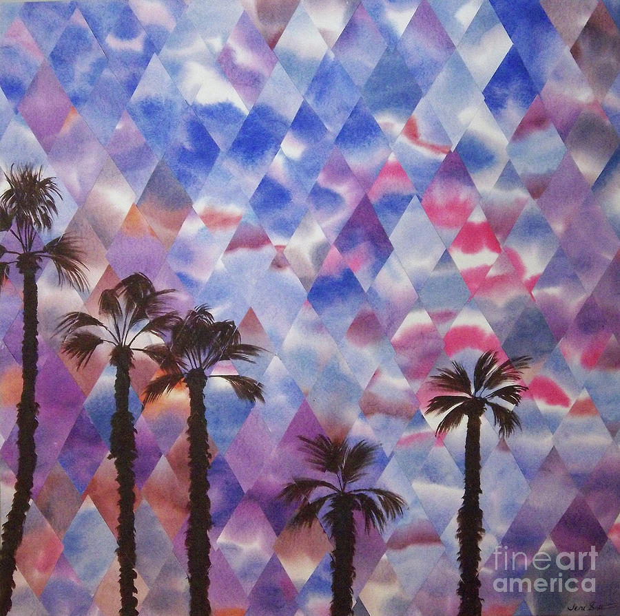 Sunset Painting - Palm Springs Sunset by Jeni Bate