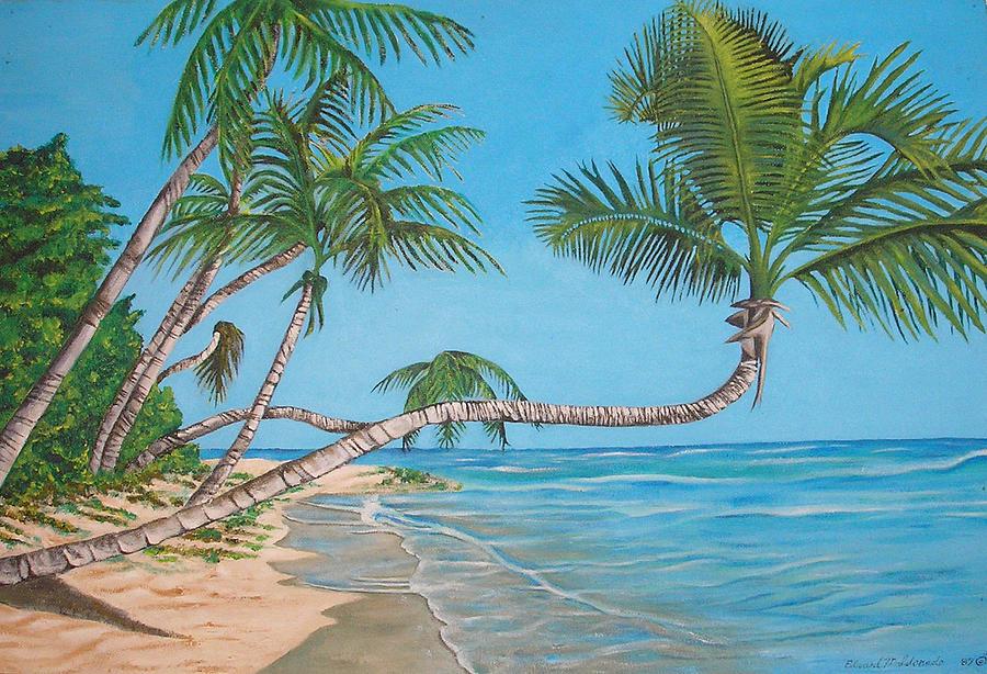 Beach Painting - Palm Tree by Edward Maldonado