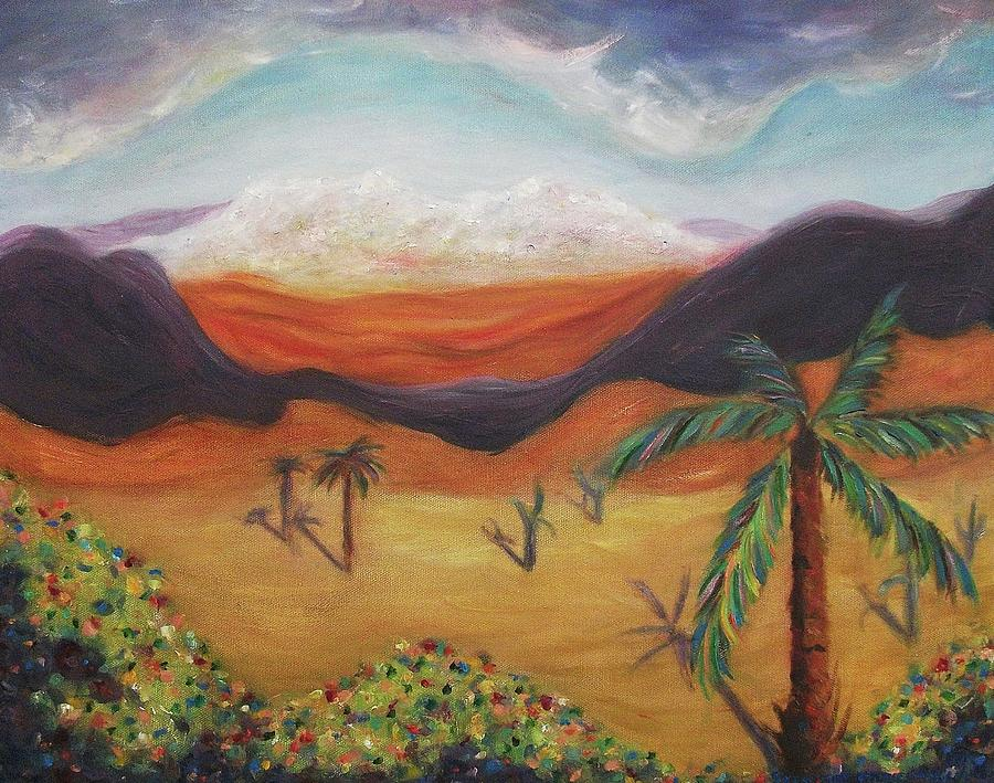 Palm Tree In Desert Painting By Suzanne Marie Leclair