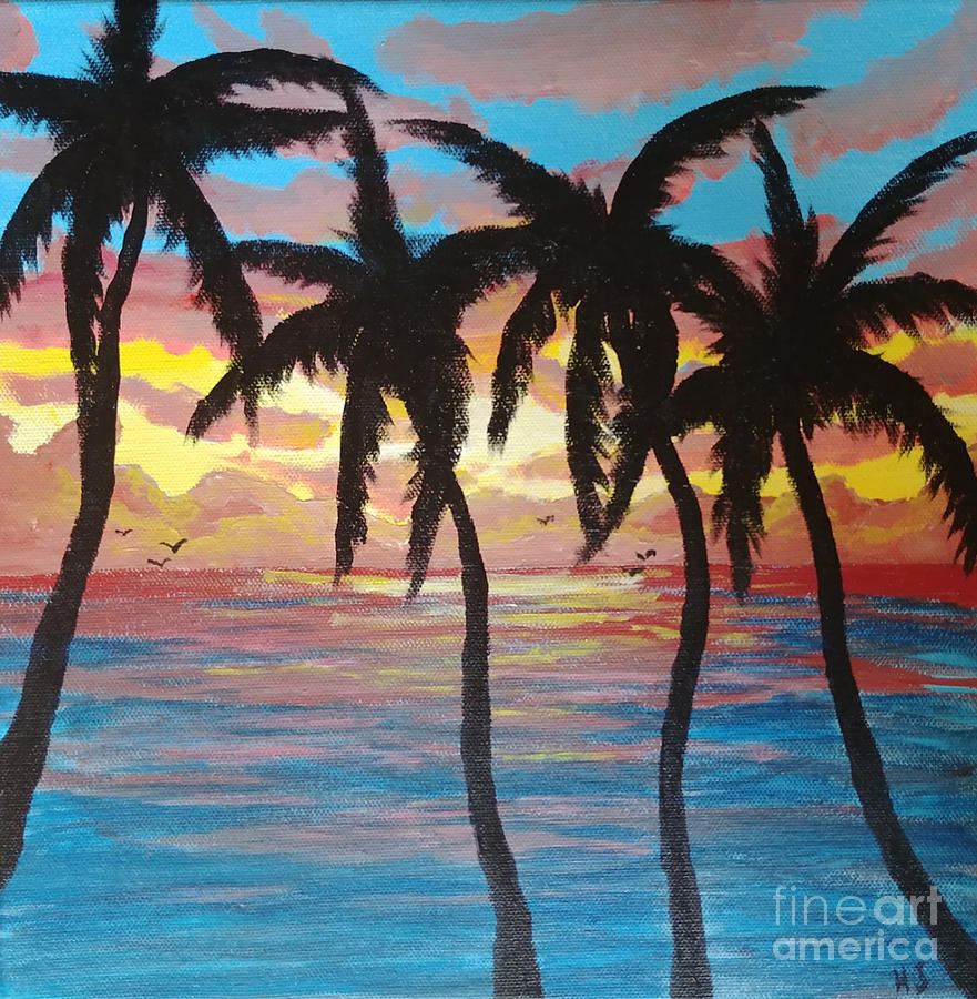 Palm Tree Sunset Painting By Heather James