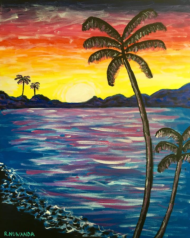 Palm Tree Sunset Painting By Robbie Potter