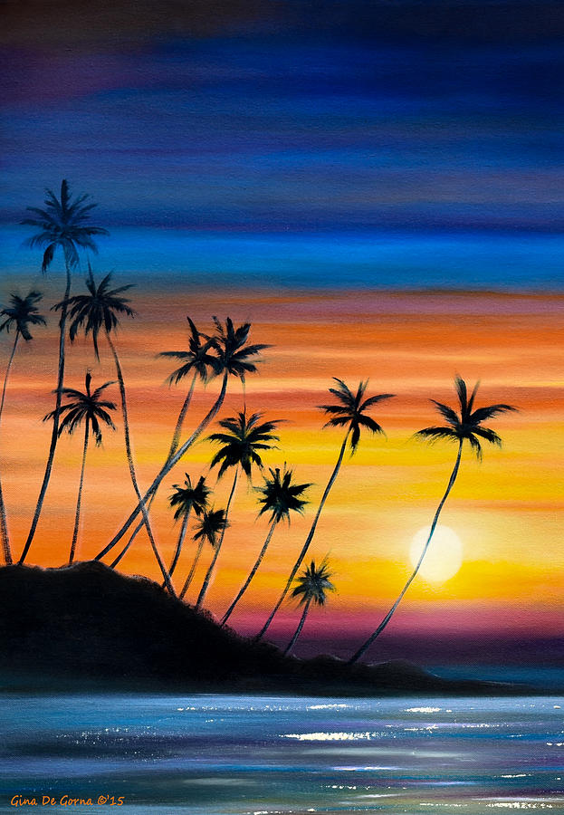 Palm Trees Beach Sunset Painting By Gina De Gorna