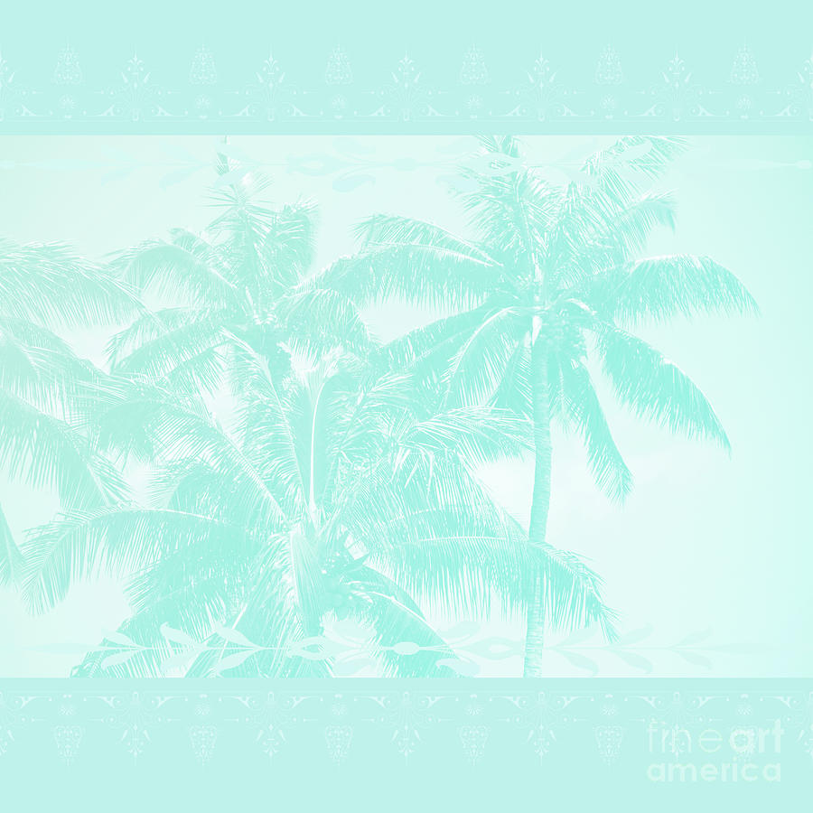 Aloha Photograph - Palm Trees Hawaii Tropical Cyan by Sharon Mau