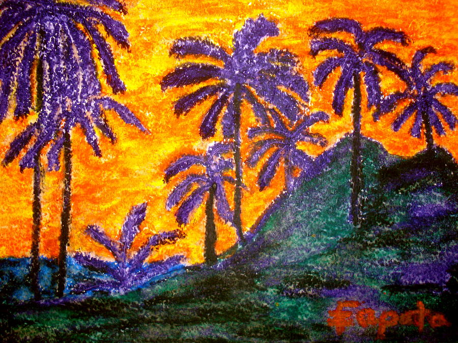 Landscape Palm Trees Pastel - Palm Trees In Paradise by Felix Zapata