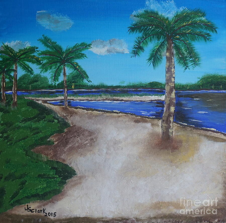 Palm Trees on the Beach Painting by Jimmy Clark