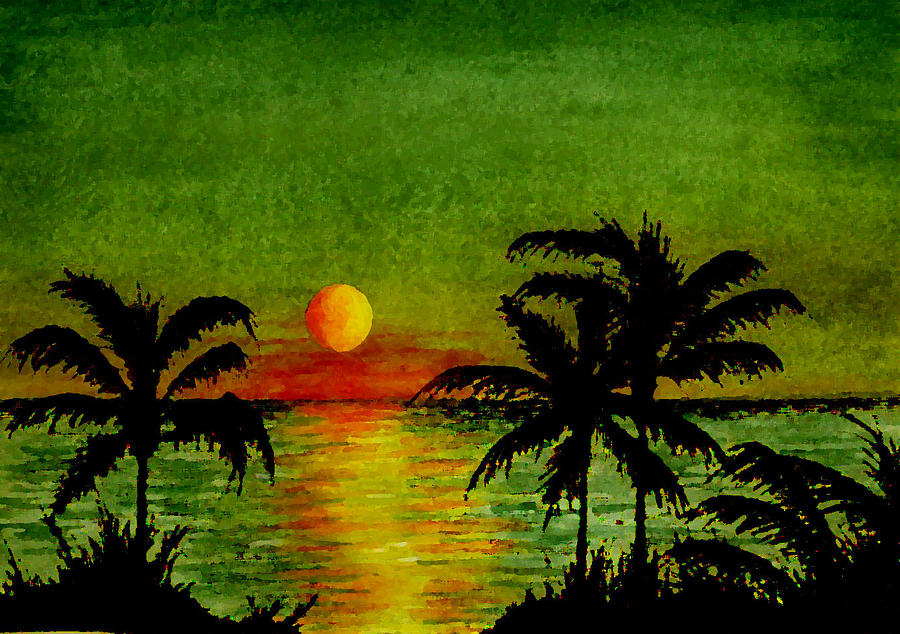 Palm Trees Setting Sun Painting By Michael Vigliotti