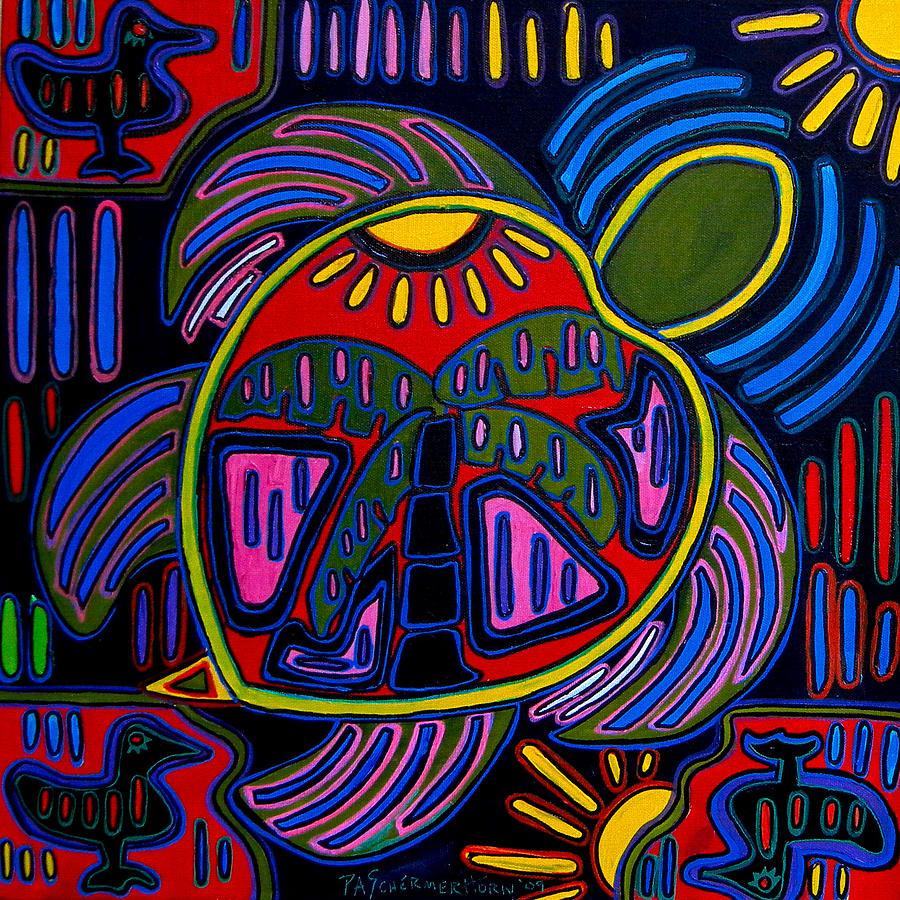 Turtle Painting - Palm Turtle Mola by Patti Schermerhorn