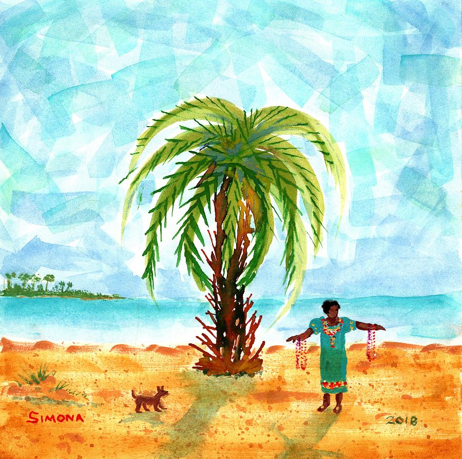 Palm, Woman And Dog Painting by Simona Hernandez