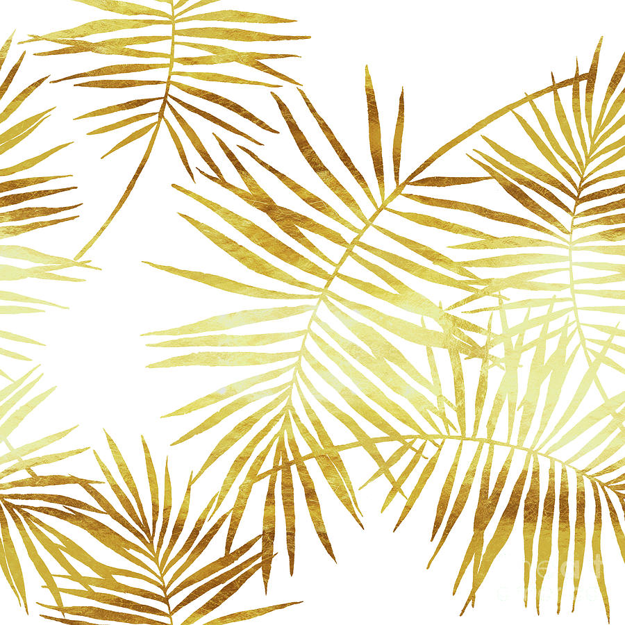 Palmes Dor Golden Palm Fronds And Leaves Digital Art by Tina Lavoie