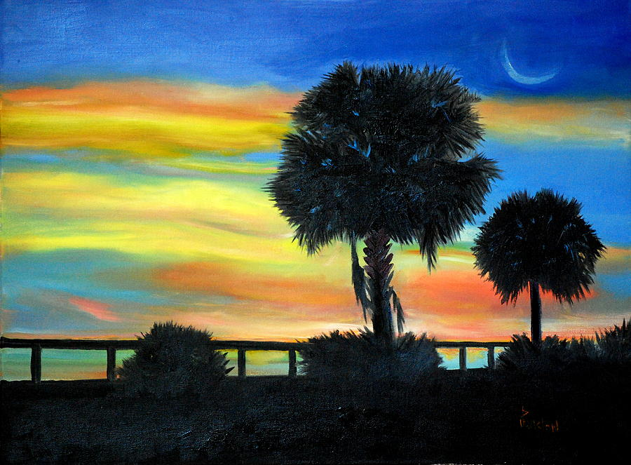Palmetto Painting - Palmetto Nights by Phil Burton