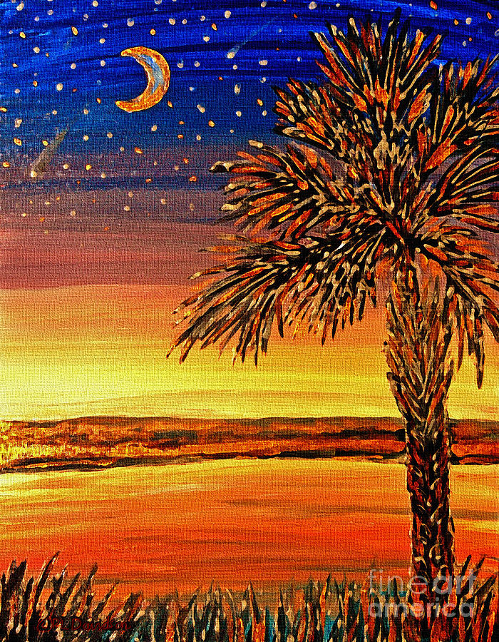 Palmetto Painting - Palmetto Sunset  by Patricia L Davidson
