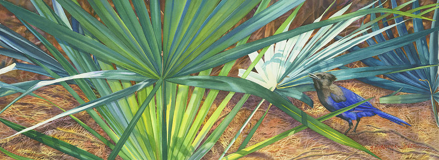Palmettos Painting - Palmettos And Stellars Blue by Marguerite Chadwick-Juner