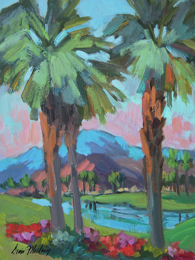 Coachella Valley Painting - Palms And Coral Mountain by Diane McClary