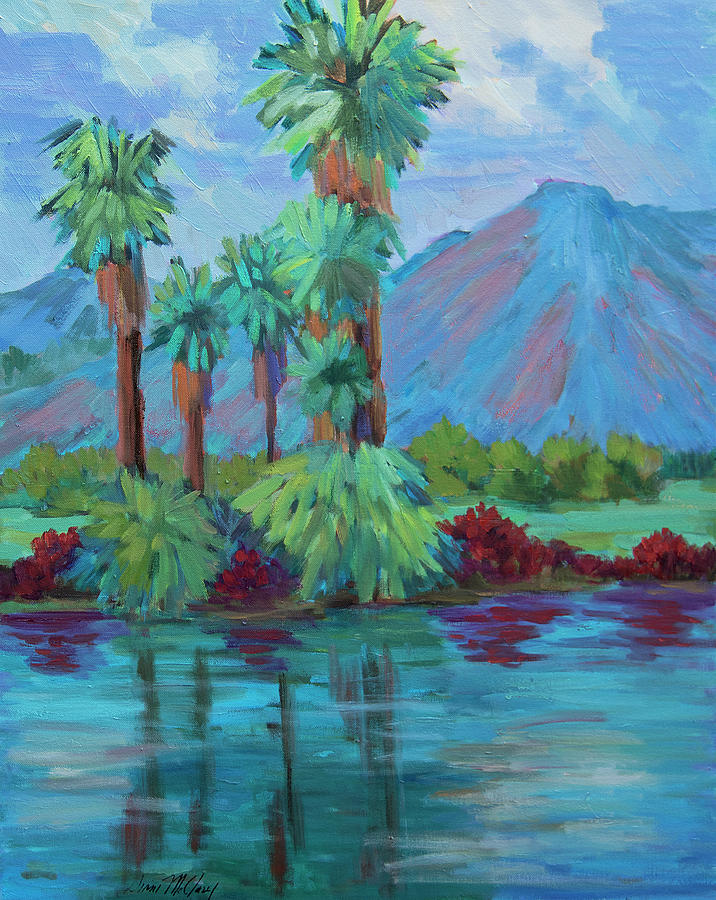 Desert Painting - Palms And Reflections by Diane McClary