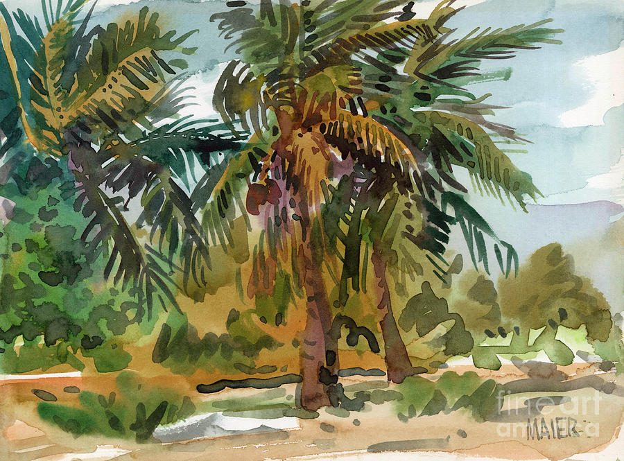 Palms in key west painting by donald maier for Painting palm trees