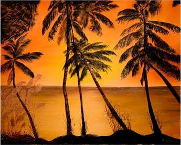 Palms In The Sunset Painting by Peggy Holcroft