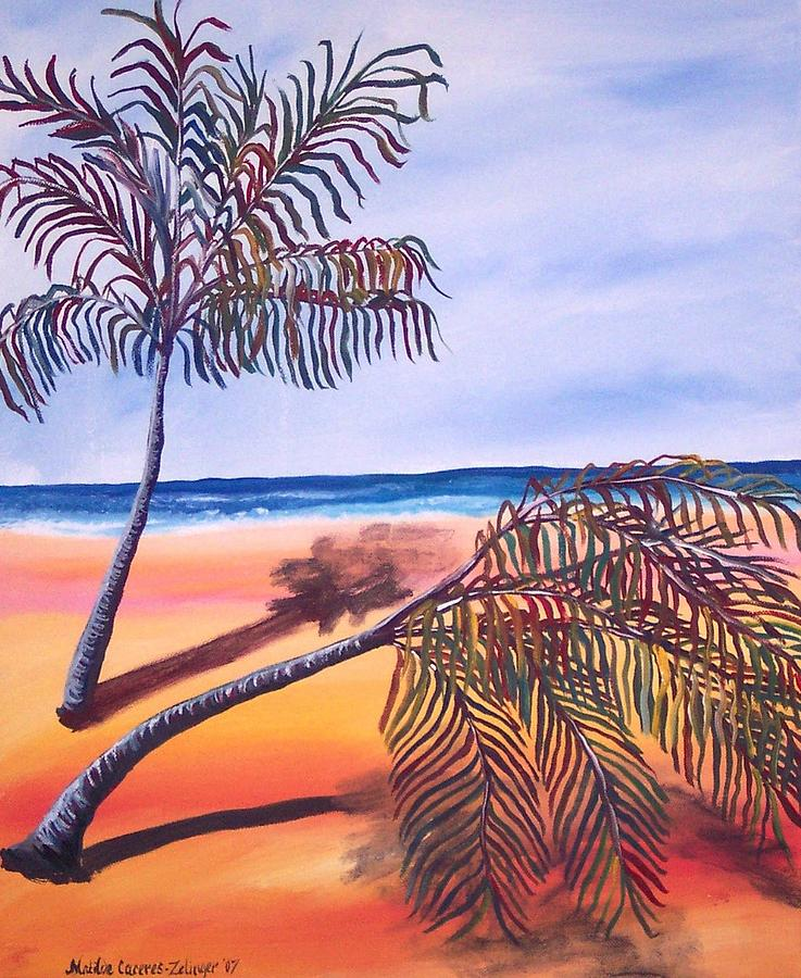 Palms Painting - Palms On Shore No.two by Matilde Caceres-Zelinger