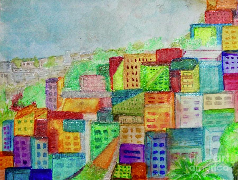 Colorful Houses Painting - Palmitas by Kim Nelson