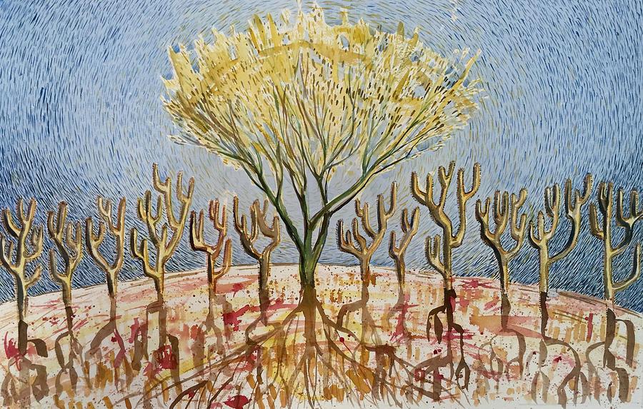 Tree Painting - Palo Verde And Her Twelve Apostles by Vaughan Davies