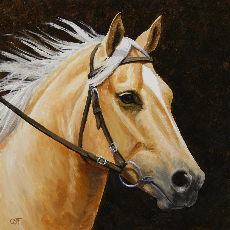 Horse Painting - Palomino Horse Portrait by Crista Forest