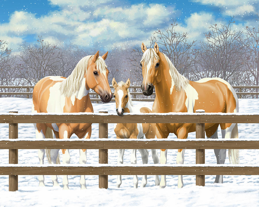 Horses Painting - Palomino Paint Horses In Snow by Crista Forest