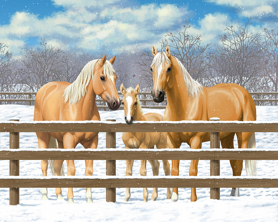 Horses Painting - Palomino Quarter Horses In Snow by Crista Forest