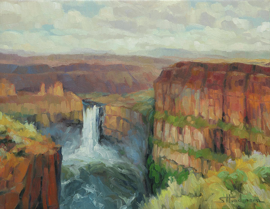 Waterfall Painting - Palouse Falls  by Steve Henderson
