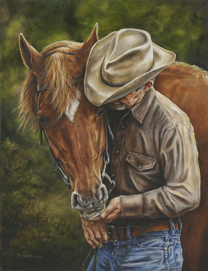 Cowboy Painting - Pals by Kim Lockman