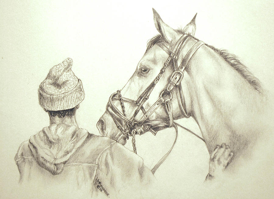 Race Horse Drawing - Pals by Linda  Medders-Jackson