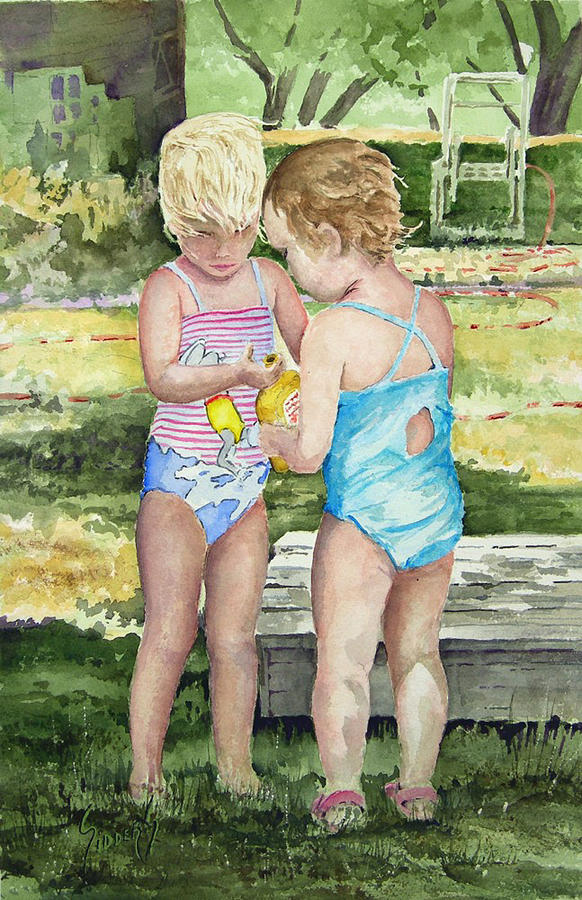 Children Painting - Pals Share by Sam Sidders