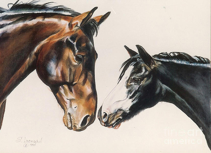 Horse Painting - Pals by Suzanne Leonard