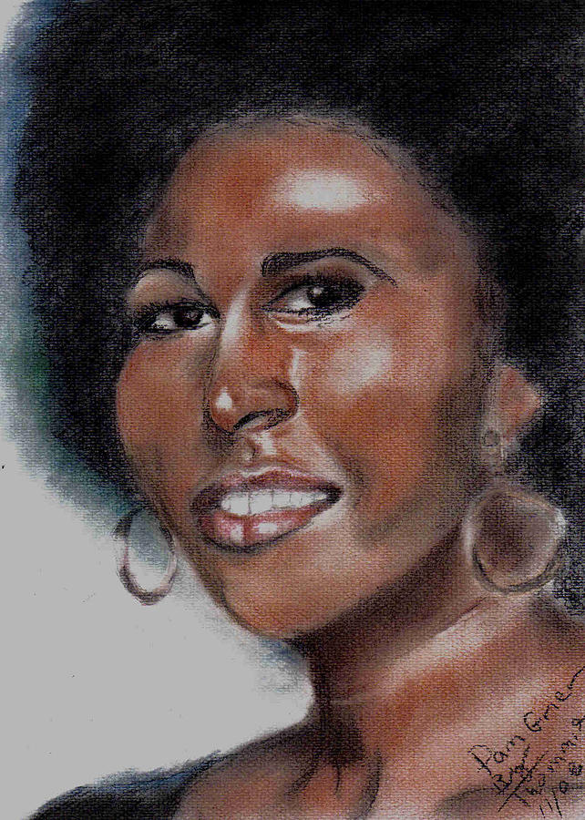 Portrait Drawing - Pam Grier by Thomasina Marks