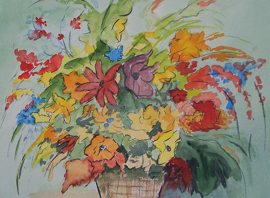 Watercolor Painting - Pams Flowers by Robert Thomaston