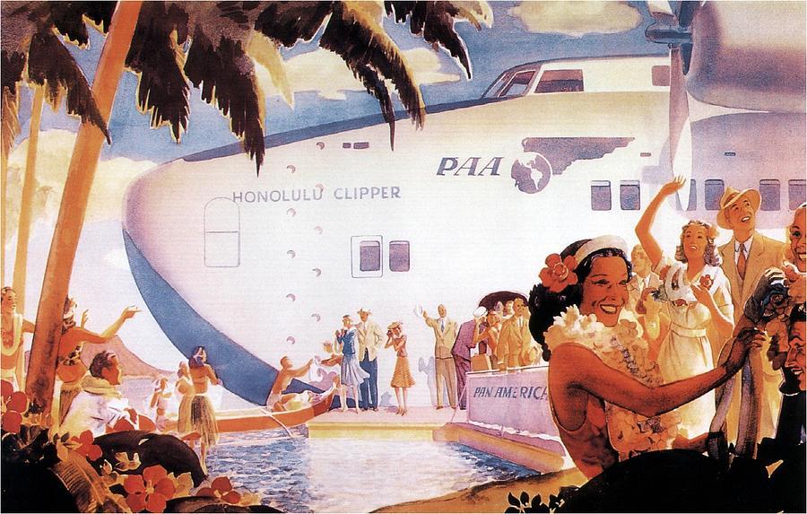 Pan American Airways - Hawaiians Greeting People - Retro Travel Poster - Vintage Poster Mixed Media