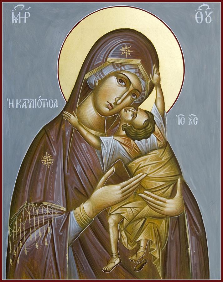 Icon Painting - Panagia Kardiotissa II by Julia Bridget Hayes