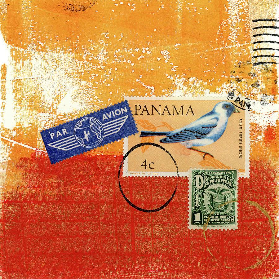 Panama Mixed Media - Panama Postal Collage by Carol Leigh