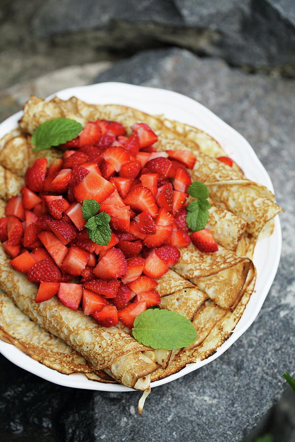 Pancakes With Strawberries Photograph