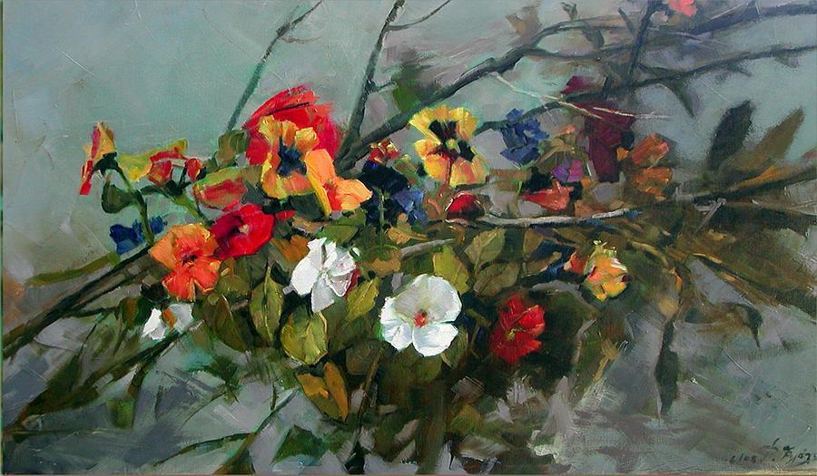 Flowers Painting - Pancies by Demetrios Vlachos