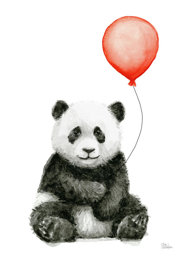 Panda baby and red balloon nursery animals decor painting for Panda bear decor