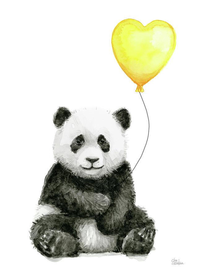 Panda Baby With Yellow Balloon Painting By Olga Shvartsur
