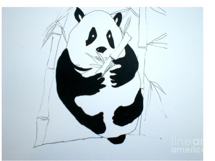 Panda Painting - Panda Bear And Bamboo by Hal Newhouser
