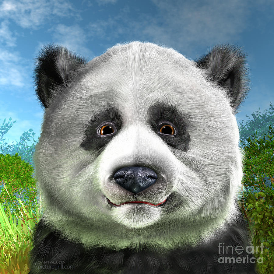 Panda Bear Painting by Shiny Thoughts