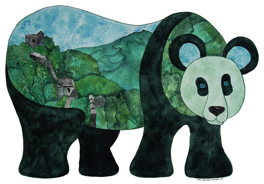 Panda Painting - Panda Bear - Great Wall of China by Tara Warburton-Schwaber